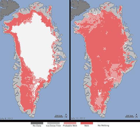 Turn Down the Heat: Satellite image of Greenland's ice melt.